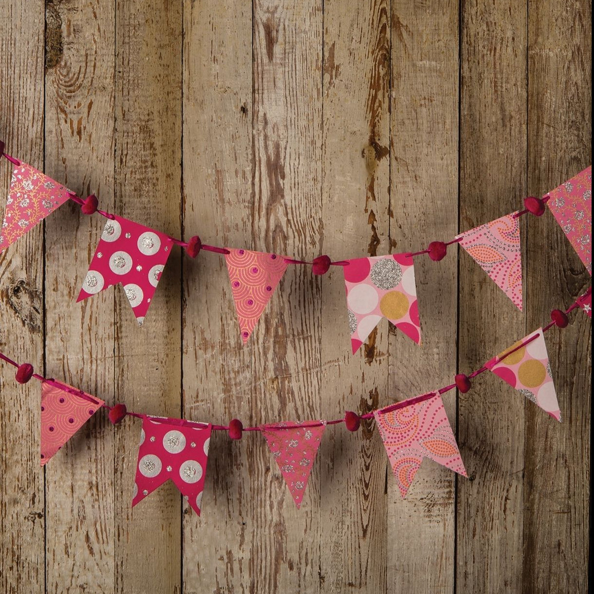 Pink Paper Small Pennant and Flag Banner (9.5 Feet Long) - PaperLanternStore.com - Paper Lanterns, Decor, Party Lights & More
