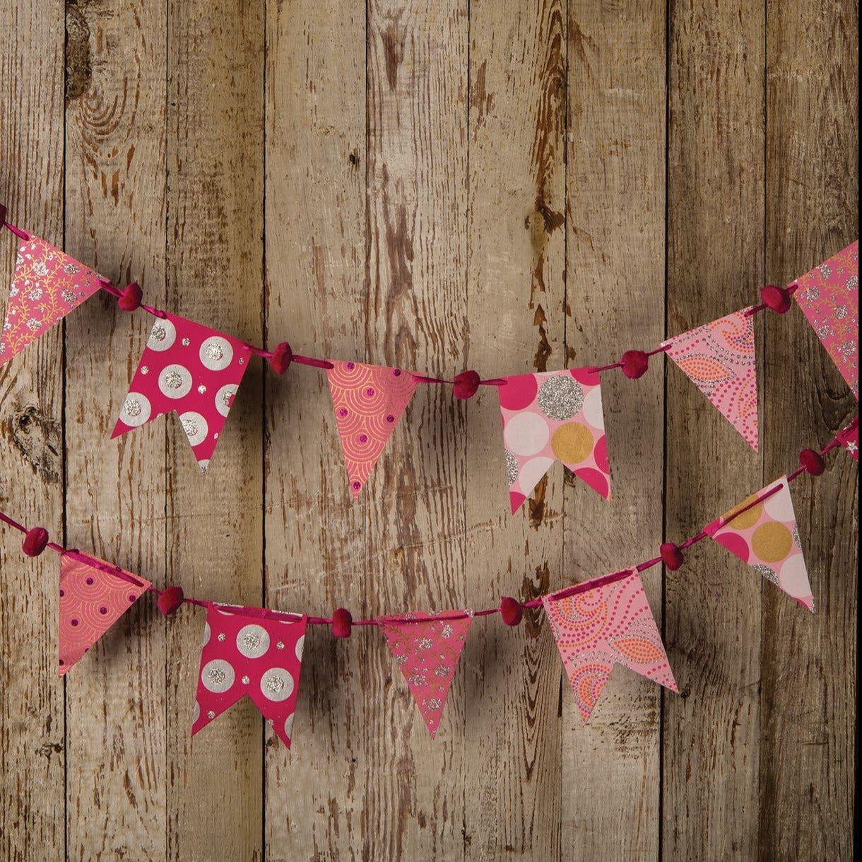 Pink Paper Small Pennant and Flag Banner (9.5 Feet Long)