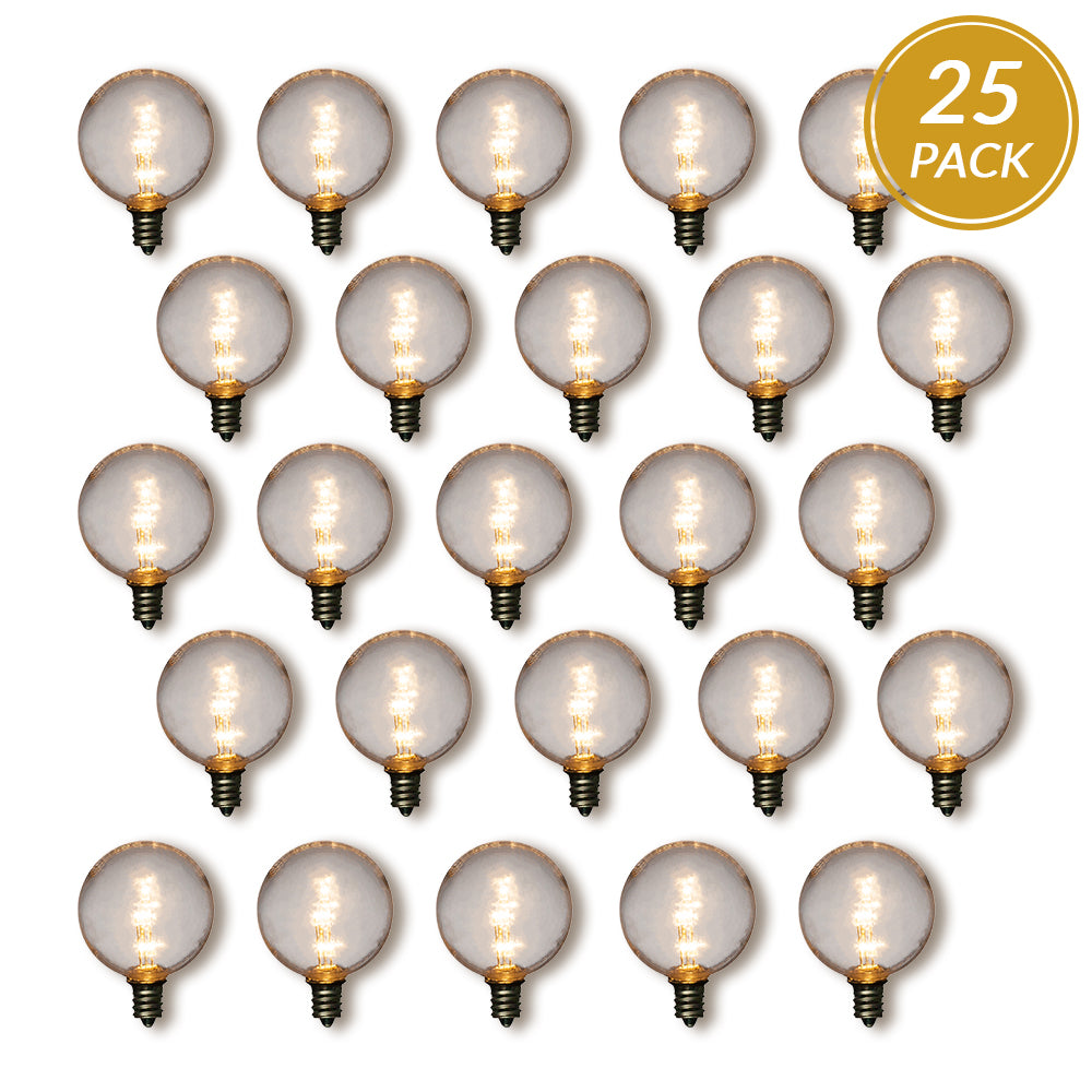 25-Pack Warm White .5-Watt LED G40 Globe Light Bulb, Shatterproof, E12 Candelabra Base