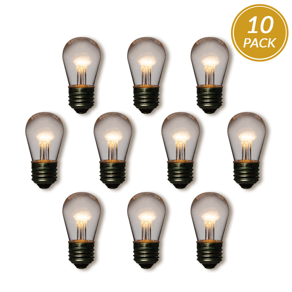 10-Pack Warm White 0.7-Watt LED S14 Sign Light Bulb, Shatterproof, E26 Medium Base