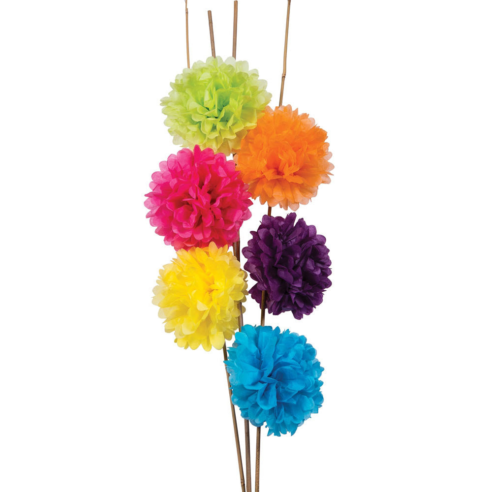 BLOWOUT 6 Pack | Tissue Paper Pom Poms (10-Inch, Multicolor) - Hanging Paper Flower Ball Decorations for Weddings, Bridal and Baby Showers, Nurseries, Parties