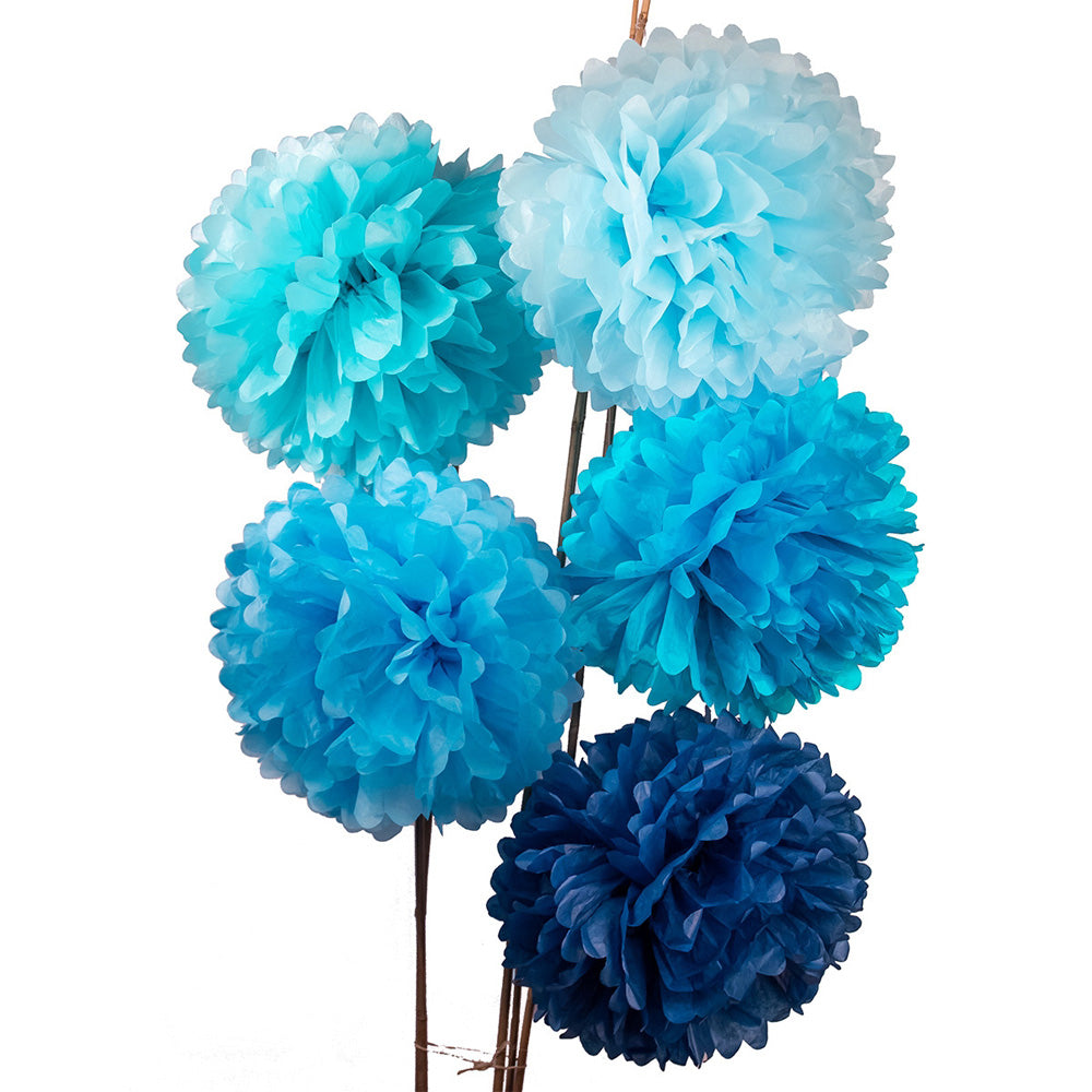 5 Pack | Shades of Blue 10 Inch Tissue Paper Flower Pom-Poms