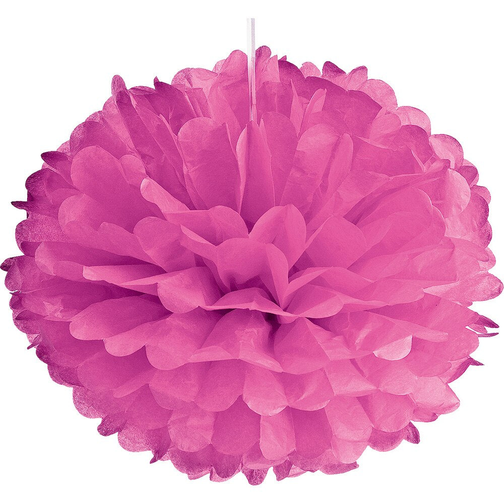 Tissue Paper Pom Pom (15-Inch, Bubblegum Pink, Single) - Hanging Paper Flower Ball Decor for Weddings, Bridal and Baby Showers, Nurseries, Parties - PaperLanternStore.com - Paper Lanterns, Decor, Party Lights & More