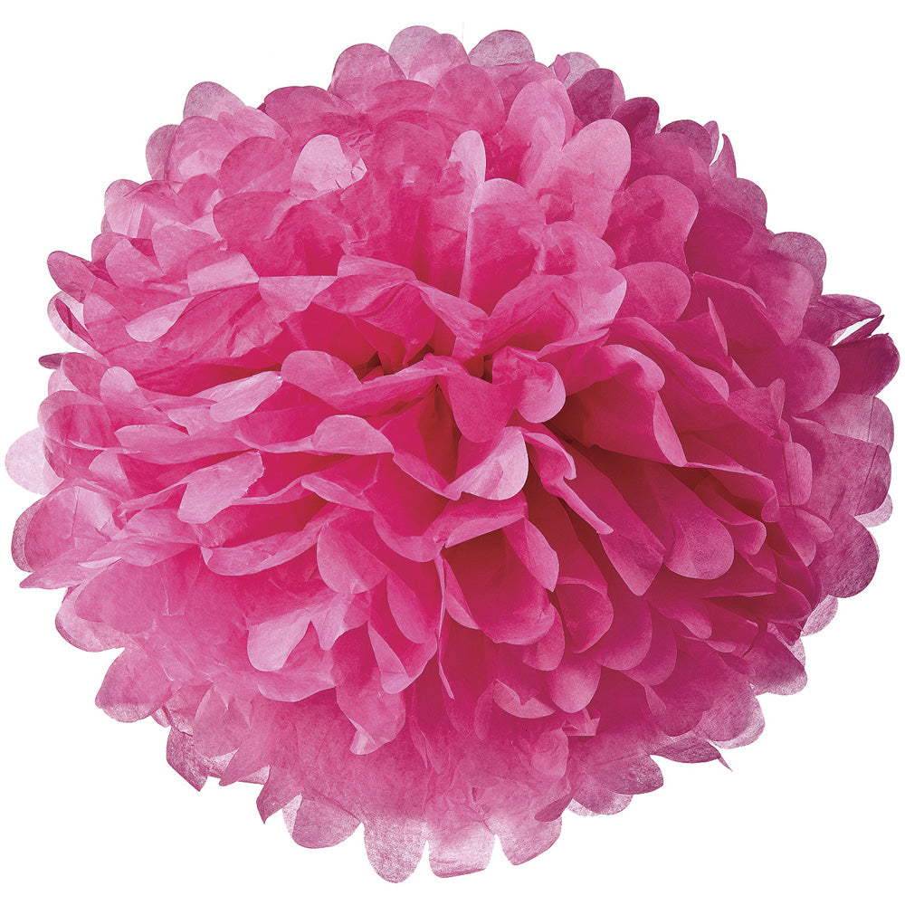 Tissue Paper Pom Pom (15-Inch, Fuchsia Pink, Single) - Hanging Paper Flower Ball Decor for Weddings, Bridal and Baby Showers, Nurseries, Parties