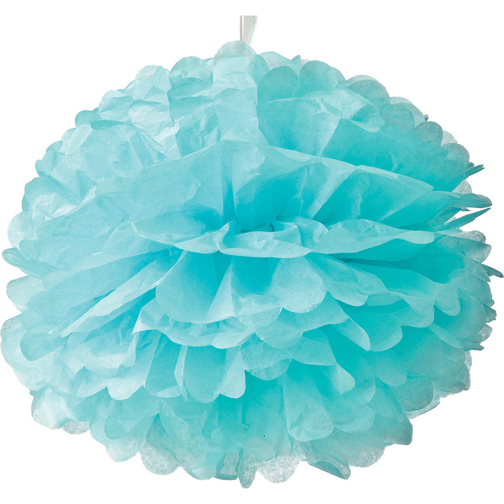 Tissue Paper Pom Pom (15-Inch, Ice Blue, Single) - Hanging Paper Flower Ball Decor for Weddings, Bridal and Baby Showers, Nurseries, Parties