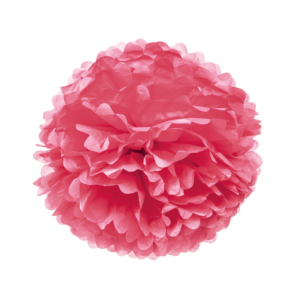 Tissue Paper Pom Pom (15-Inch, Tulip Pink, Single) - Hanging Paper Flower Ball Decor for Weddings, Bridal and Baby Showers, Nurseries, Parties