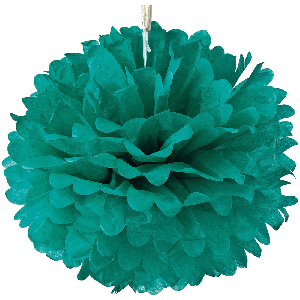 BLOWOUT Tissue Paper Pom Pom (15-Inch, Teal Green, Single) - Hanging Paper Flower Ball Decor for Weddings, Bridal and Baby Showers, Nurseries, Parties