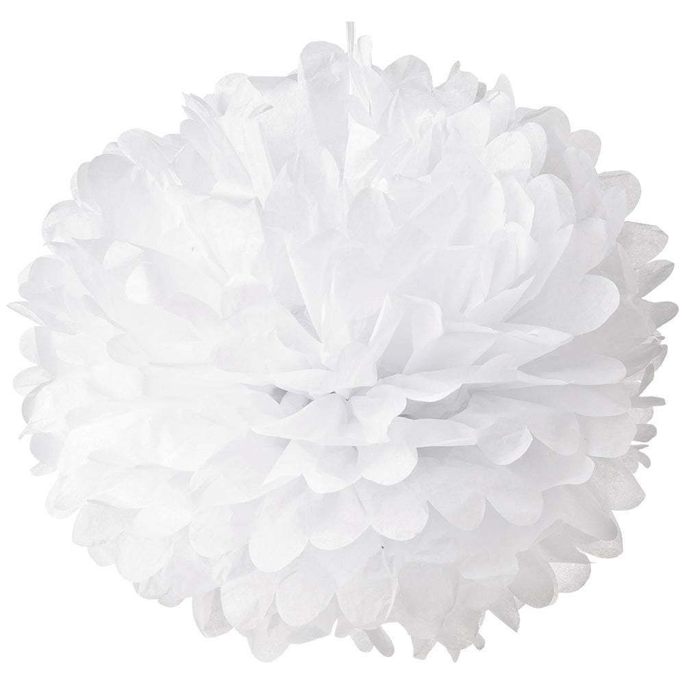 Tissue Paper Pom Pom (15-Inch, White, Single) - Hanging Paper Flower Ball Decor for Weddings, Bridal and Baby Showers, Nurseries, Parties - PaperLanternStore.com - Paper Lanterns, Decor, Party Lights & More