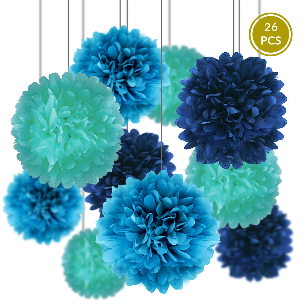 Blue Party Pack Tissue Paper Pom Pom Combo Set (26 pc Set) - PaperLanternStore.com - Paper Lanterns, Decor, Party Lights & More
