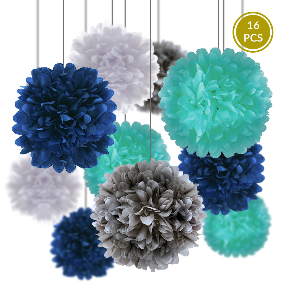 Winter Holiday Celebration Party Pack Tissue Paper Pom Pom Combo Set (16 pc Set)