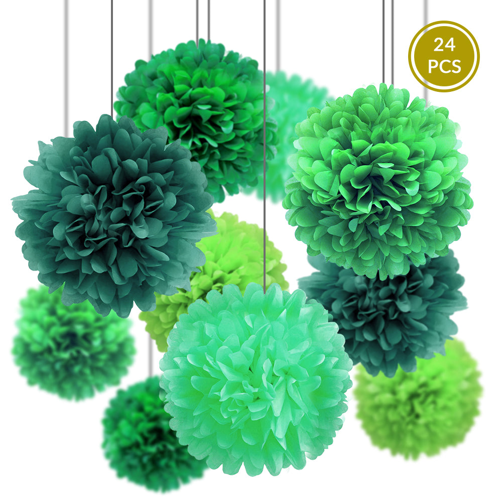 Green Party Pack Tissue Paper Pom Pom Combo Set (24 pc Set)