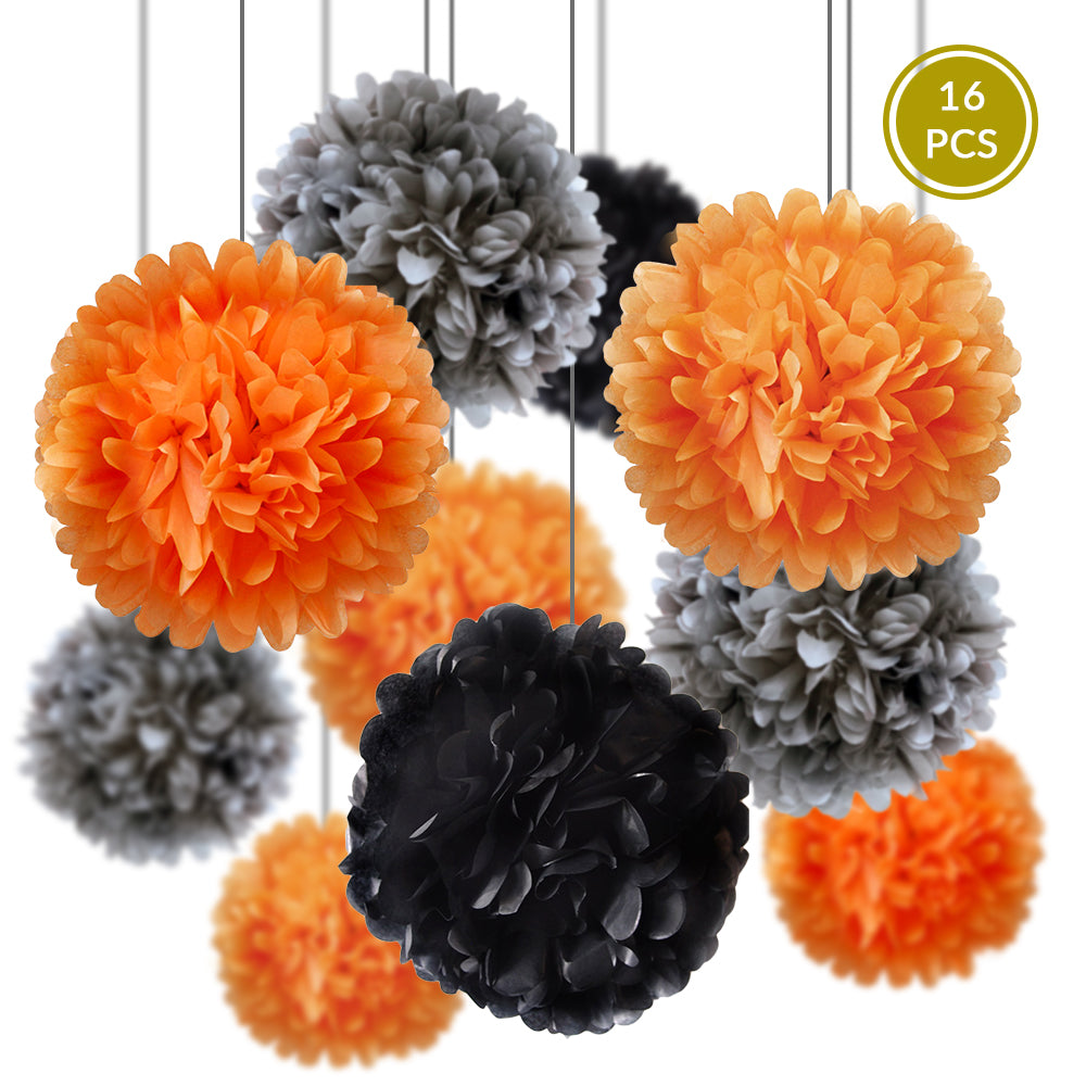 Traditional Halloween Celebration Party Pack Tissue Paper Pom Pom Combo Set (16 pc Set)