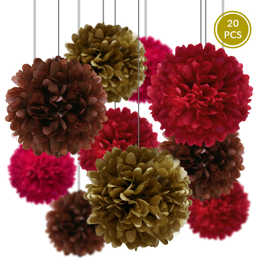 Red Party Pack Tissue Paper Pom Pom Combo Set (20 pc Set)