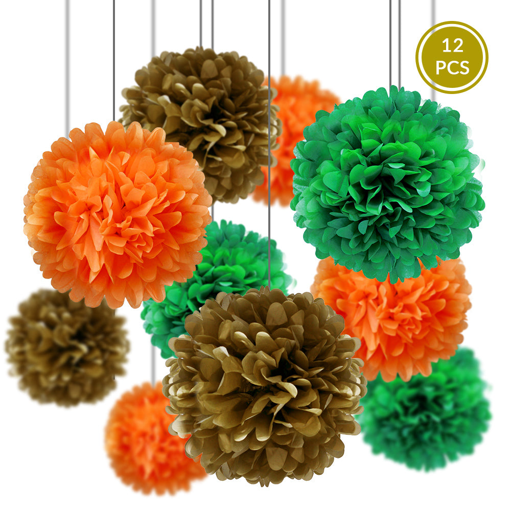 St. Patrick's Day Celebration Party Pack Tissue Paper Pom Pom Combo Set (12 pc Set)