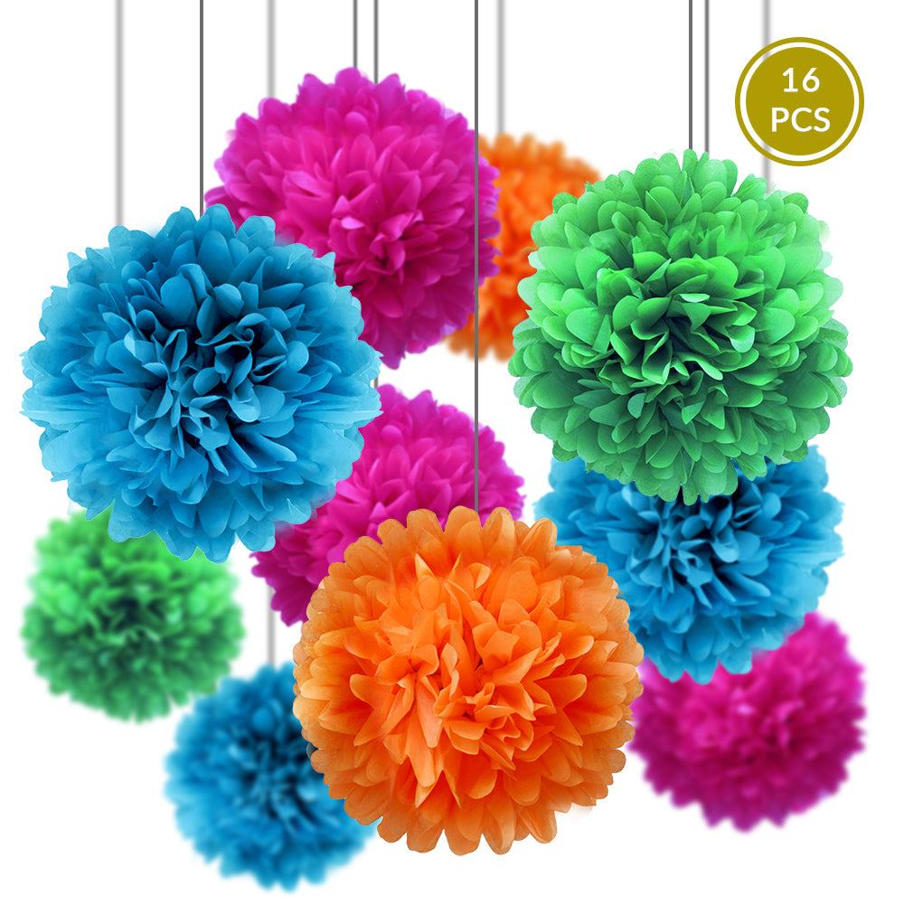 BLOWOUT Summer Celebration Party Pack Tissue Paper Pom Pom Combo Set (16 pc Set)