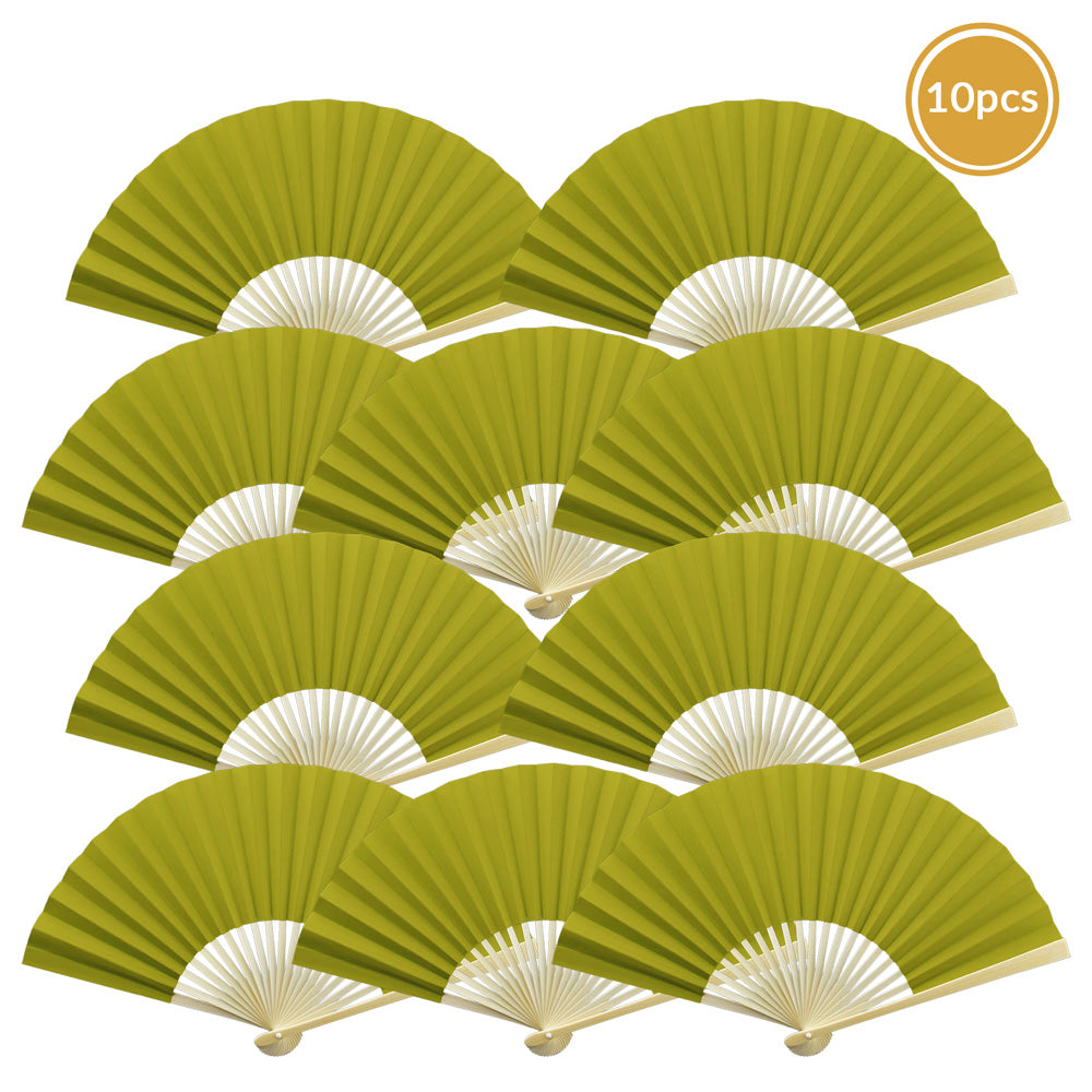 "9"" Chartreuse Paper Hand Fans for Weddings, Premium Paper Stock (10 Pack) - PaperLanternStore.com - Paper Lanterns, Decor, Party Lights & More"
