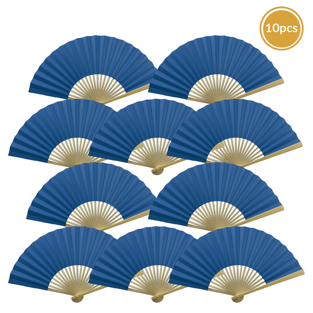 "9"" Dark Blue Paper Hand Fans for Weddings, Premium Paper Stock (10 Pack)"