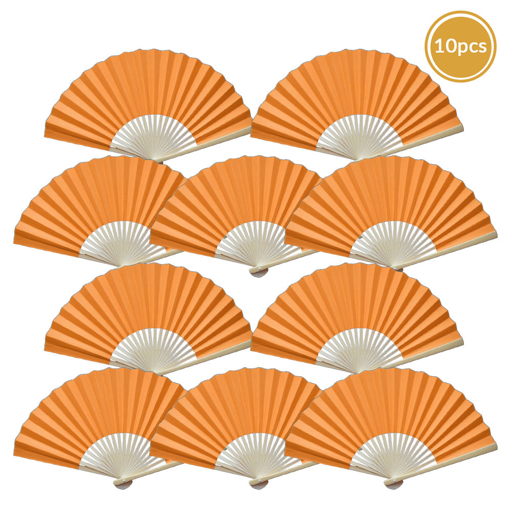 "9"" Orange Paper Hand Fans for Weddings, Premium Paper Stock (10 Pack)"