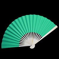 "9"" Teal Green Paper Hand Fans for Weddings, Premium Paper Stock (10 Pack)"