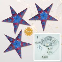 "3-PACK + Cord | Purple Galaxy 24"" Illuminated Paper Star Lanterns and Lamp Cord Hanging Decorations"