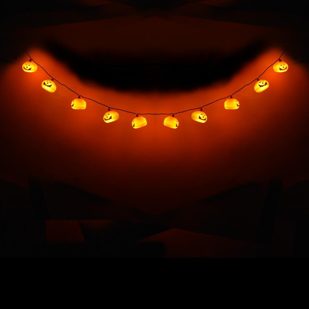 BLOWOUT 10 LED Jack-o-Lantern Pumpkin Halloween String Light, 5.5 FT Battery Operated Powered - PaperLanternStore.com - Paper Lanterns, Decor, Party Lights & More