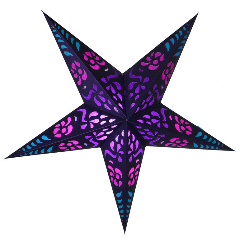 "24"" Purple Punch Paper Star Lantern, Chinese Hanging Wedding & Party Decoration"