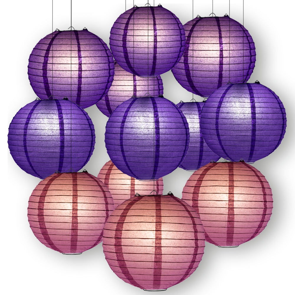 Purple Crush Celebration Party Pack Parallel Ribbed Paper Lantern Combo Set (12 pc Set)