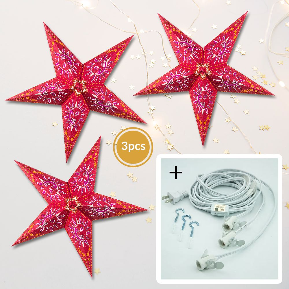 "3-PACK + Cord | Red Sun and Stars 24"" Illuminated Paper Star Lanterns and Lamp Cord Hanging Decorations"
