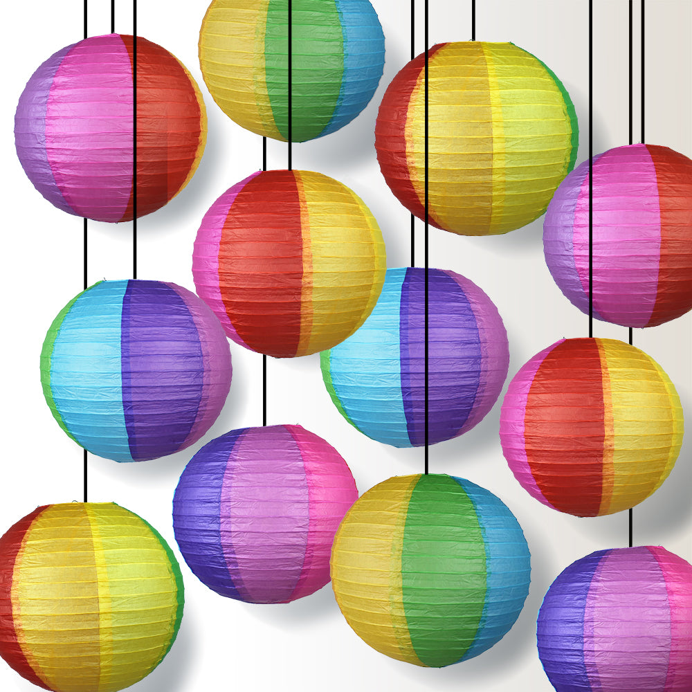 "14"" Rainbow Multi-Color Paper Lantern, Even Ribbing, Hanging Decoration (12-PACK)"