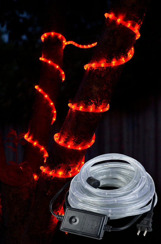 BLOWOUT Red Outdoor LED Fairy String Rope Light, 33 FT, Clear Tube, AC Plug-In