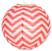 "BLOWOUT 14"" Red Chevron Paper Lantern, Even Ribbing, Hanging Decoration"