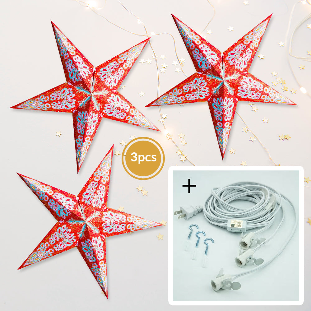 "3-PACK + Cord | Red Flower Glitter 24"" Illuminated Paper Star Lanterns and Lamp Cord Hanging Decorations"
