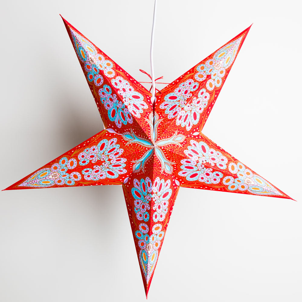 24 Inch Red Flower Glitter Paper Star Lantern, Hanging Decoration