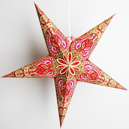 "3-PACK + Cord | Green Alaskan Glitter 24"" Illuminated Paper Star Lanterns and Lamp Cord Hanging Decorations - PaperLanternStore.com - Paper Lanterns, Decor, Party Lights & More"