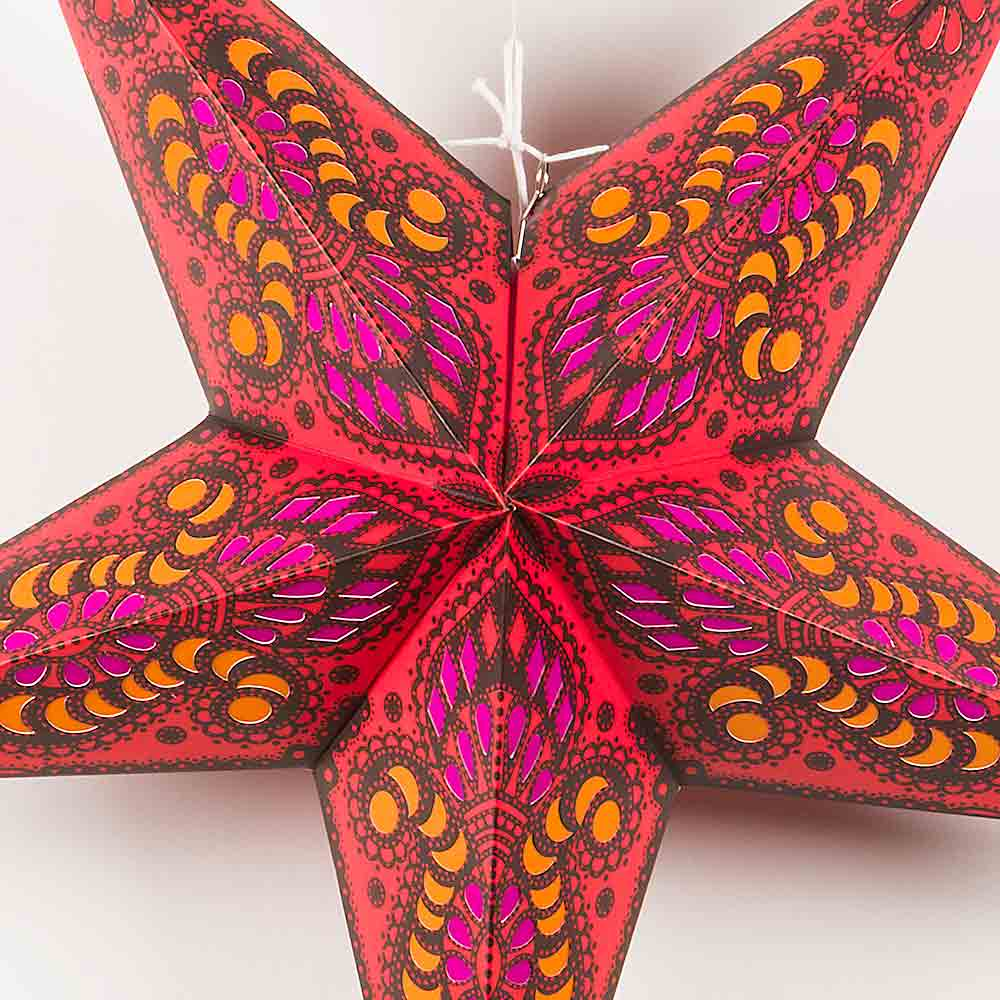 "24"" Red Peacock Paper Star Lantern, Chinese Hanging Wedding & Party Decoration"
