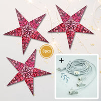 "3-PACK + Cord | Multicolor Rain 24"" Illuminated Paper Star Lanterns and Lamp Cord Hanging Decorations"