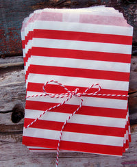 BLOWOUT Red Stripe Paper Treat Bags - (12 PCS)