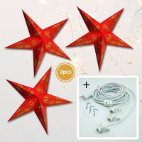 "3-PACK + Cord | Red Daisy 24"" Illuminated Paper Star Lanterns and Lamp Cord Hanging Decorations"