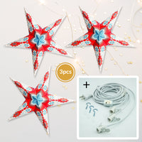 "3-PACK + Cord | Red, White and Blue Royal Glitter 24"" Illuminated Paper Star Lanterns and Lamp Cord Hanging Decorations"