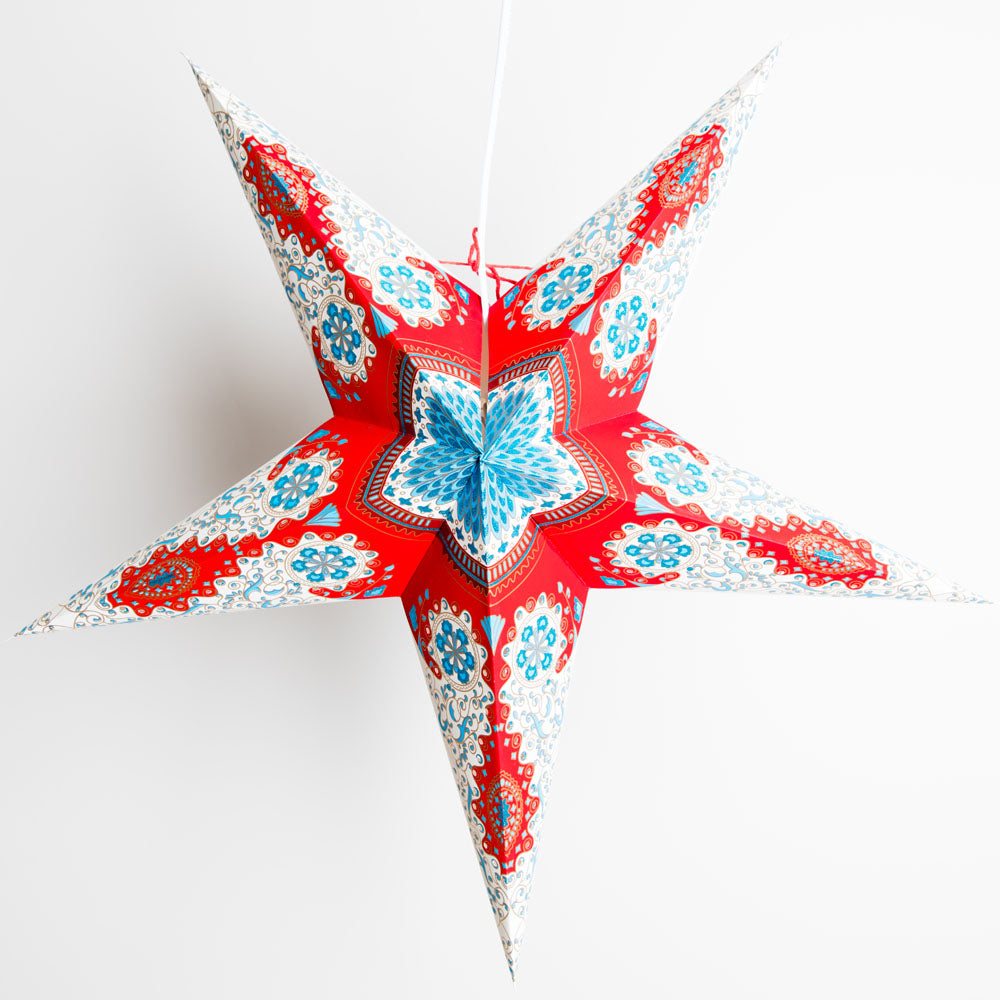 "24"" Red and White Royal Glitter Paper Star Lantern, Hanging Decoration"