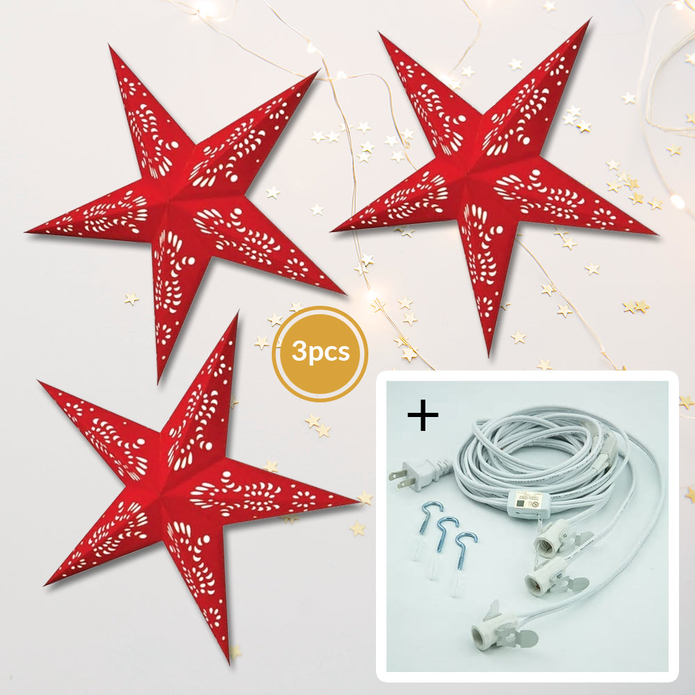 "3-PACK + Cord | Red and White Feather 24"" Illuminated Paper Star Lanterns and Lamp Cord Hanging Decorations"