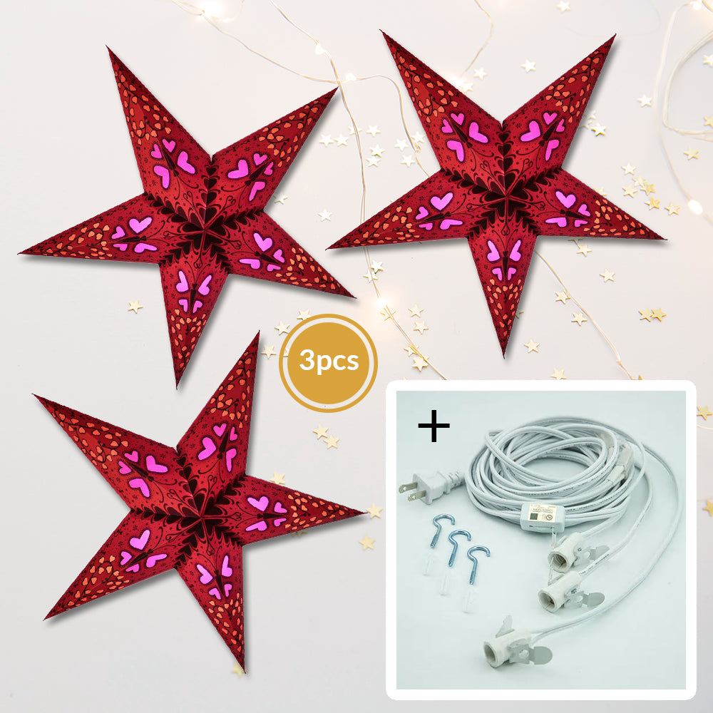 "3-PACK + Cord | Red Butterfly and Hearts 24"" Illuminated Paper Star Lanterns and Lamp Cord Hanging Decorations"