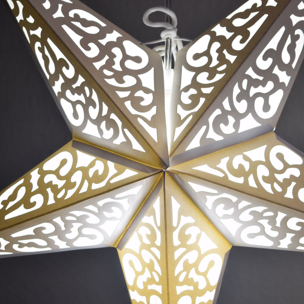 "24"" Atomic White Paper Star Lantern, Chinese Hanging Wedding & Party Decoration - PaperLanternStore.com - Paper Lanterns, Decor, Party Lights & More"