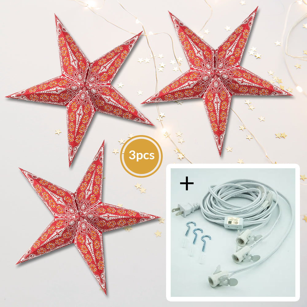 "3-PACK + Cord | Red Petal Cut 24"" Illuminated Paper Star Lanterns and Lamp Cord Hanging Decorations"
