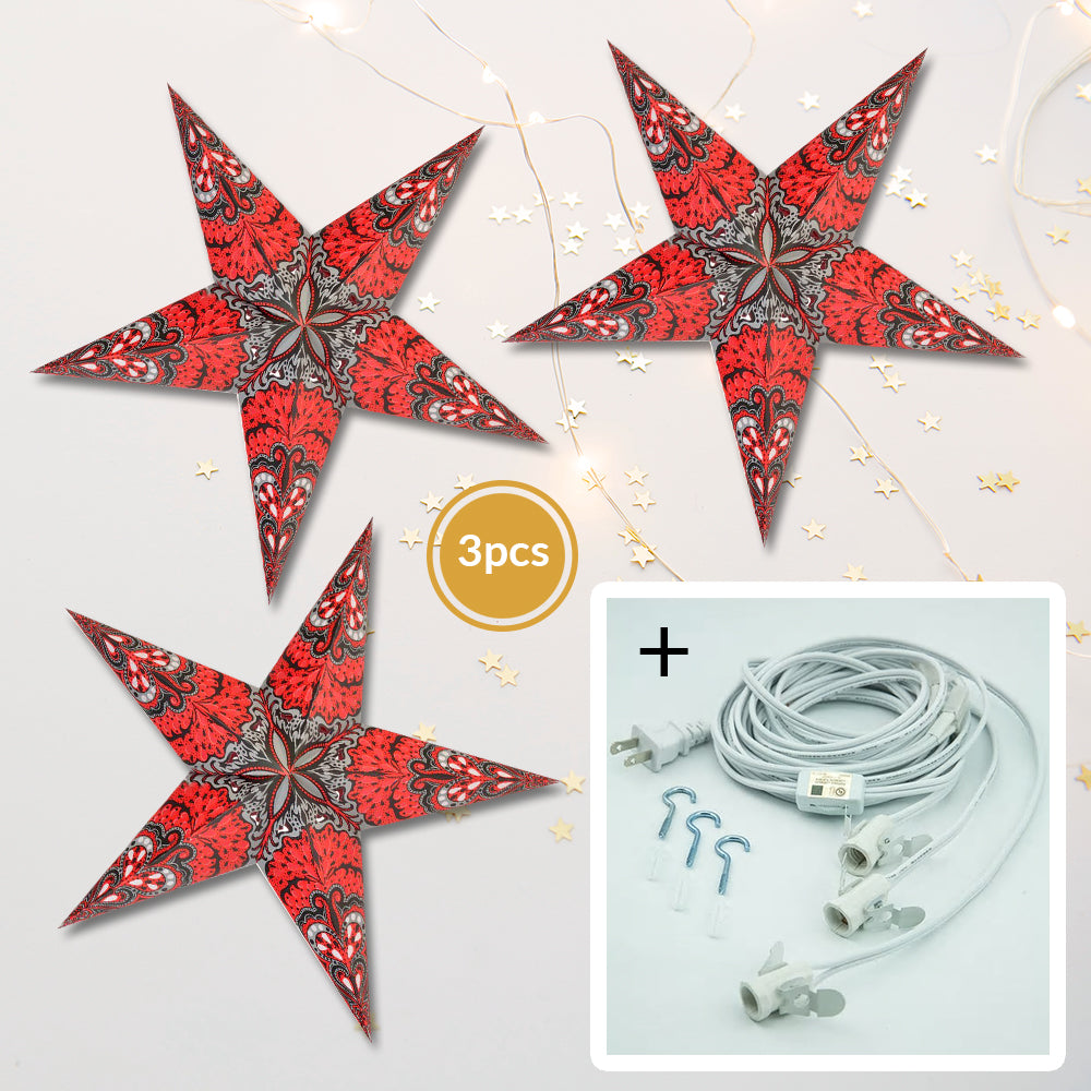 "3-PACK + Cord | Red Rain 24"" Illuminated Paper Star Lanterns and Lamp Cord Hanging Decorations"
