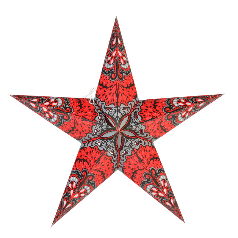 "24"" Red Grey Rain Paper Star Lantern, Chinese Hanging Wedding & Party Decoration"