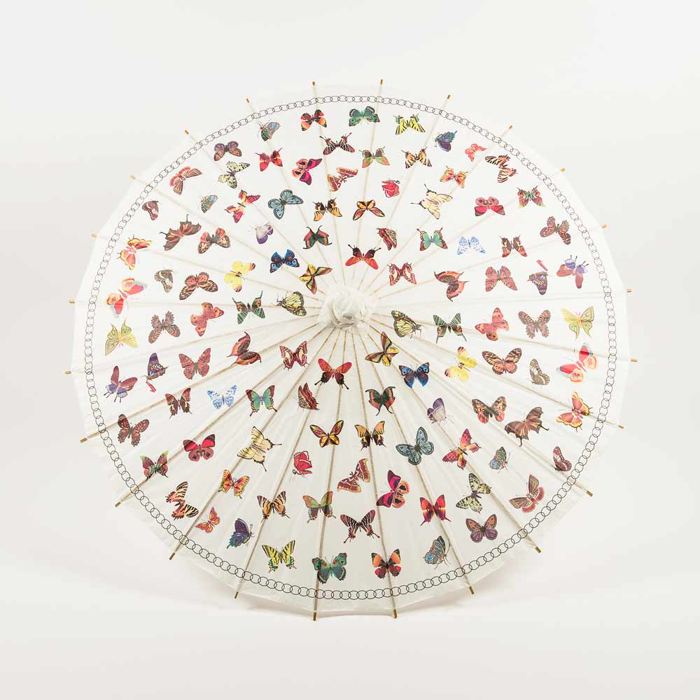 "32"" Butterflies Paper Parasol Umbrella Sun Protection with Elegant Handle"
