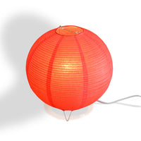 Red Corded Round Table Top Lantern Lamp Kit w/ Light Bulb, Fine Lines