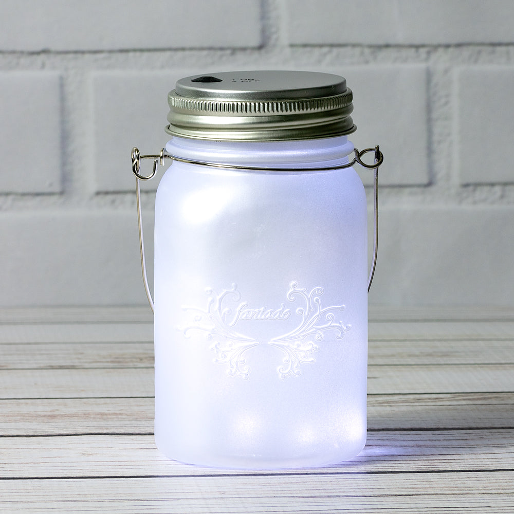 Fantado Regular Mouth Frosted Pearl White Mason Jar Luminaria Light w/ Hanging Cool White Fairy LED Kit