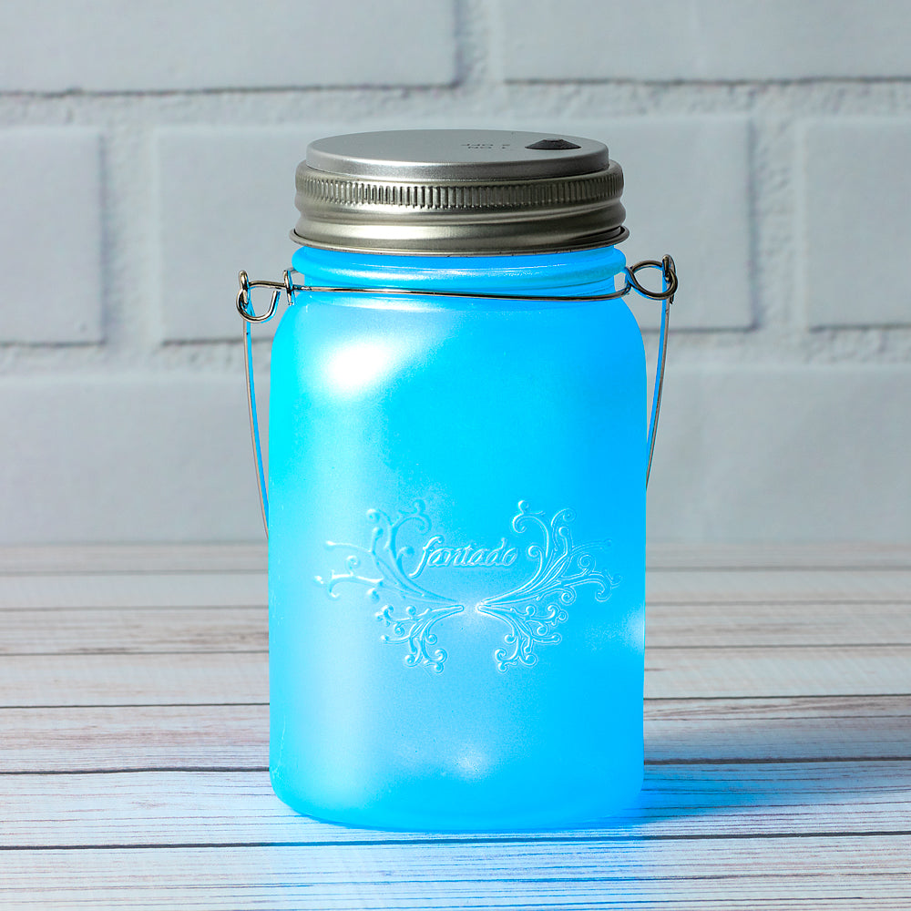 Fantado Regular Mouth Frozen Blue Mason Jar Luminaria Light w/ Hanging Blue Fairy LED Kit